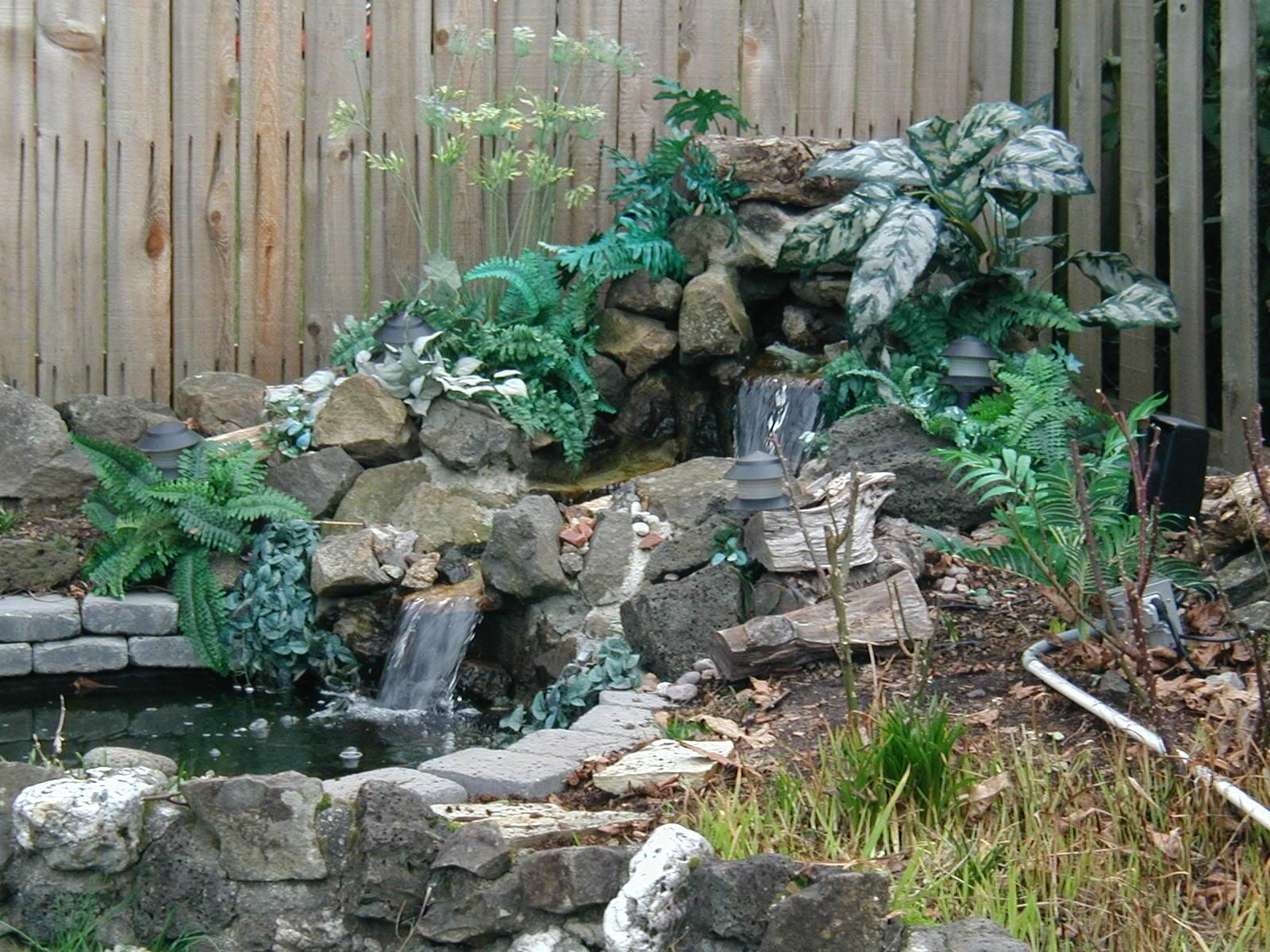 Garden waterfall design 2 landscaping pinterest for Garden waterfall design