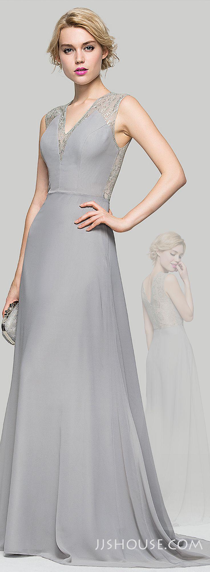 Alineprincess vneck sweep train chiffon evening dress
