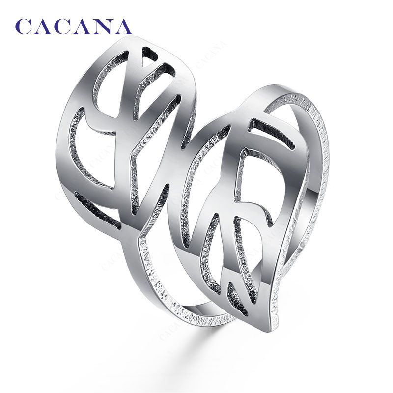 Titanium Stainless Steel Rings For Women With Double Leaf Fashion Jewelry  Wholesale NO.R143 f0612ddc4