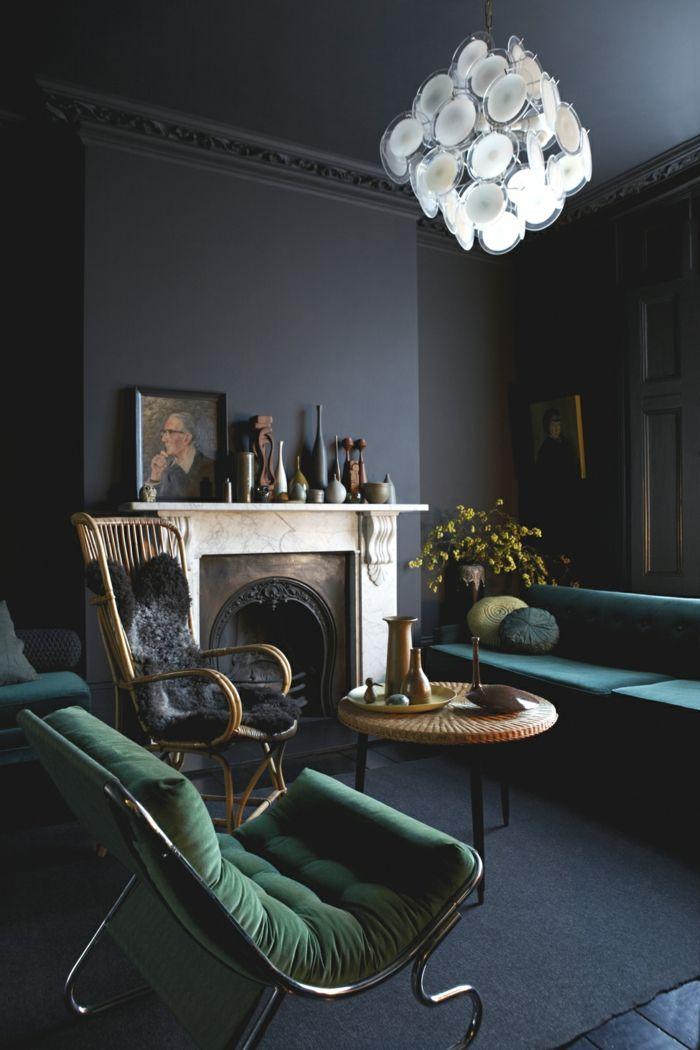 Wände Streichen Ideen Wohnideen Wohnzimmer Grüne Sessel Kamin Leuchter