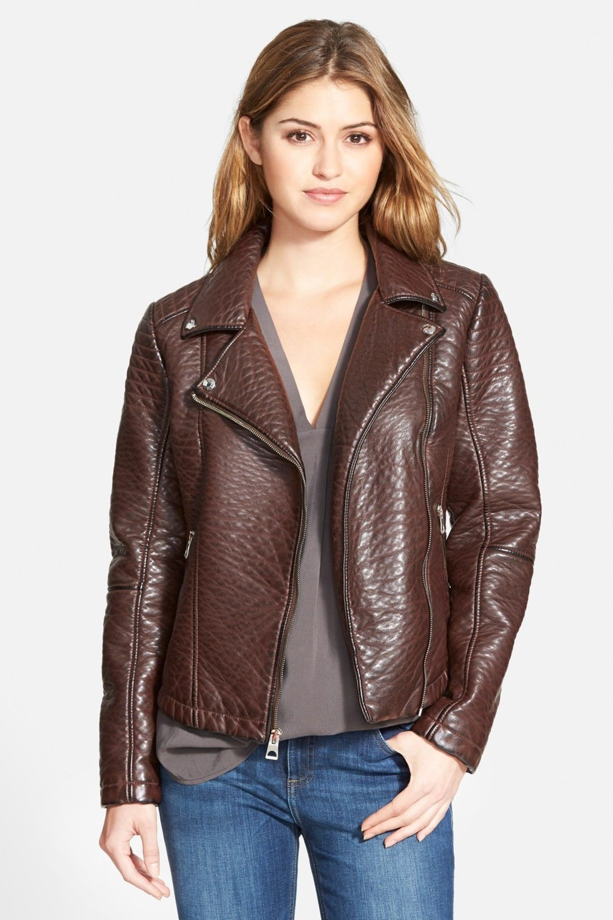 Textured Faux Leather Moto Jacket Jackets, Plus size