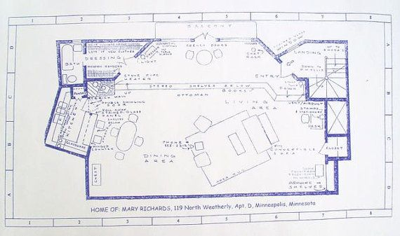 Mary richards apartment from tv show mary tyler moore blueprint mary richards apartment from tv show mary tyler moore blueprint malvernweather Image collections