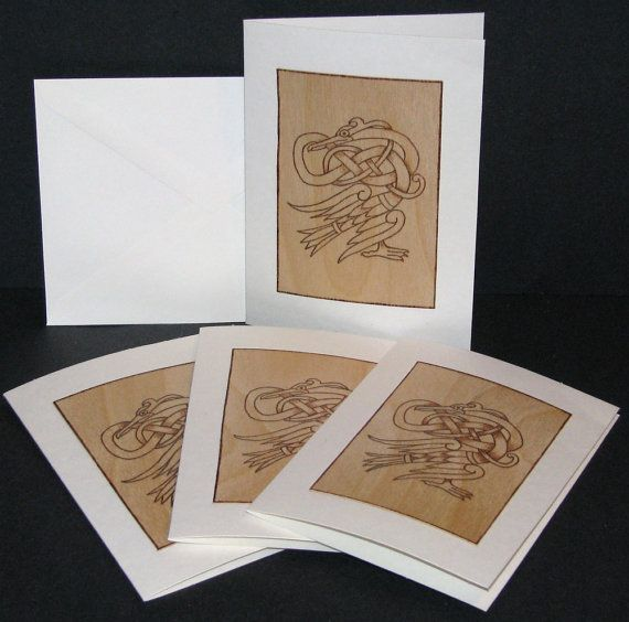 greeting cards  pyrography  celtic heron wood burned by bkinspired, $18.00
