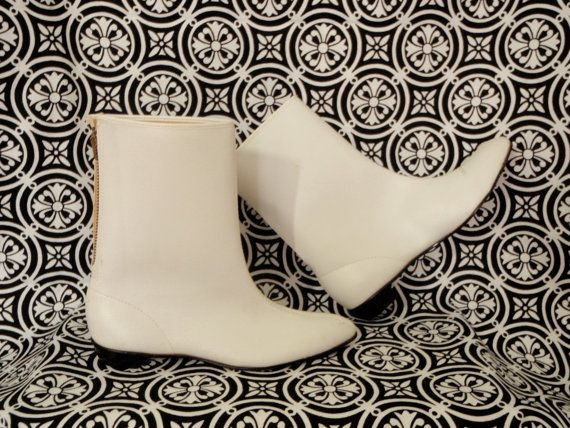 60s Mod Go Go Boots/ White Ankle Boots