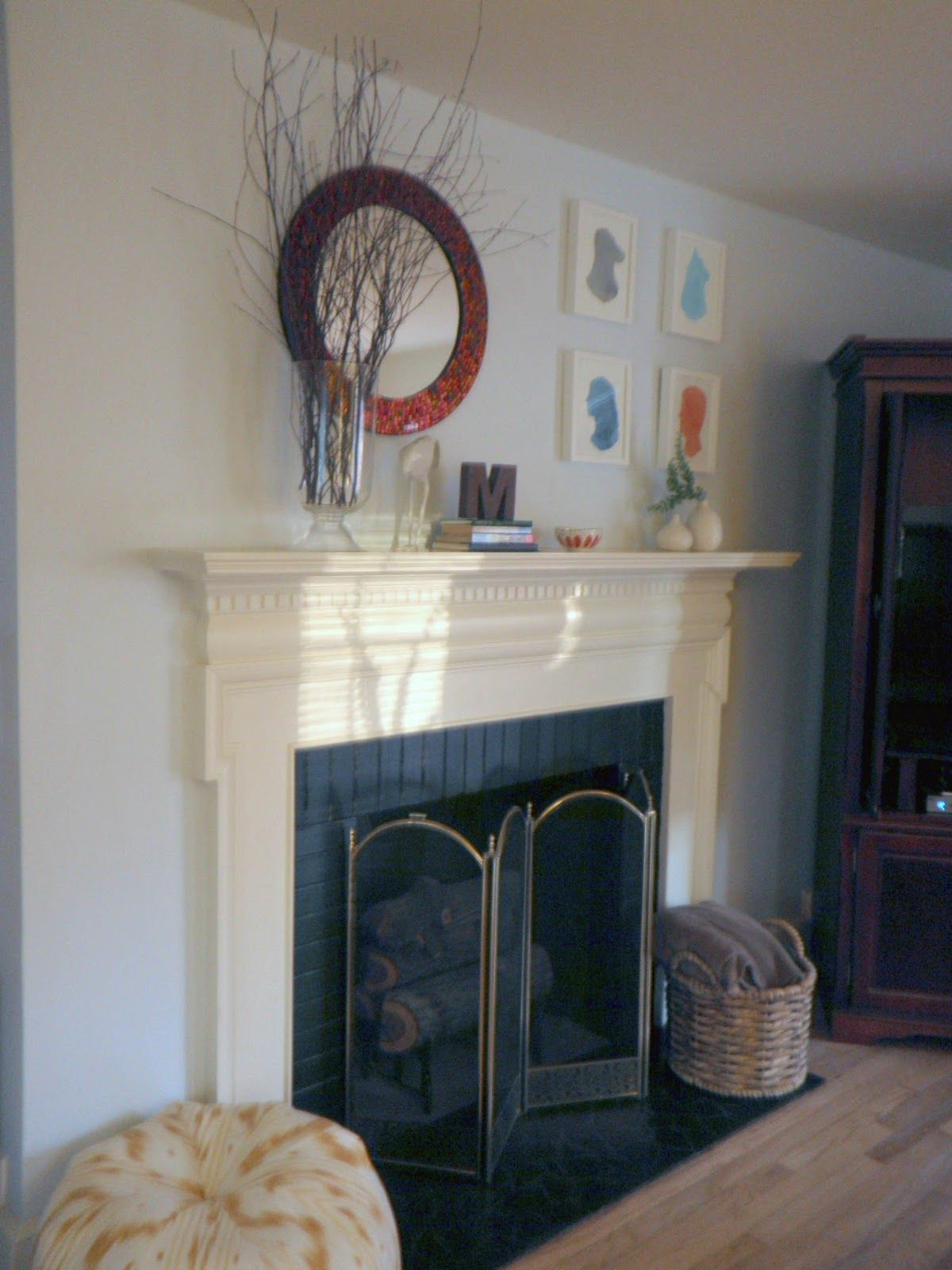 Round mirror above fireplace u monogram for the home pinterest