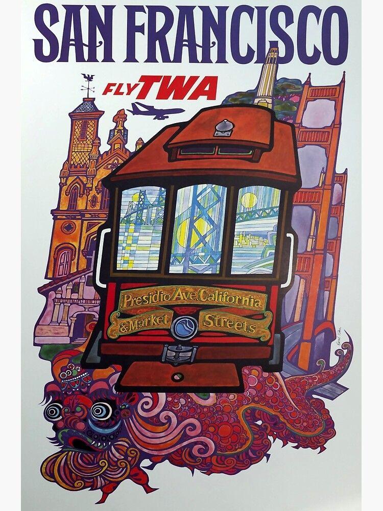 retro classic san francisco poster poster von corasposters in 2021 retro airline reiseposter retroposter