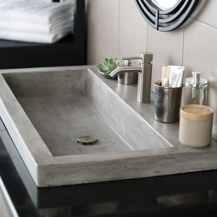 Trough Stone Rectangular Drop In Bathroom Sink Salle De Bain En Beton Salle De Bain Nature Lavabos