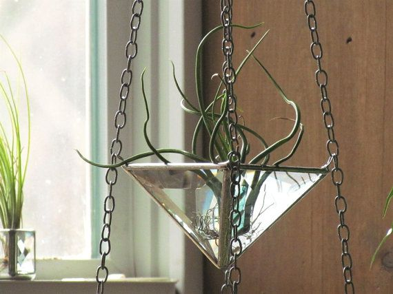 Hanging 3 Tiered Air Plant Holder Large Faceted Stained Glass