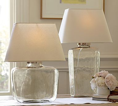 Clear glass lamp from pottery barn perhaps fill it up with colored glass beads bedside table lampsbedroom