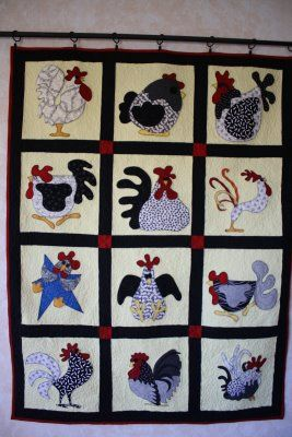 Funny Chickens Applique Quilting Applique Quilts Animal Quilts