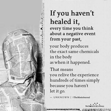 If you haven't healed it, every time you think about a negative event