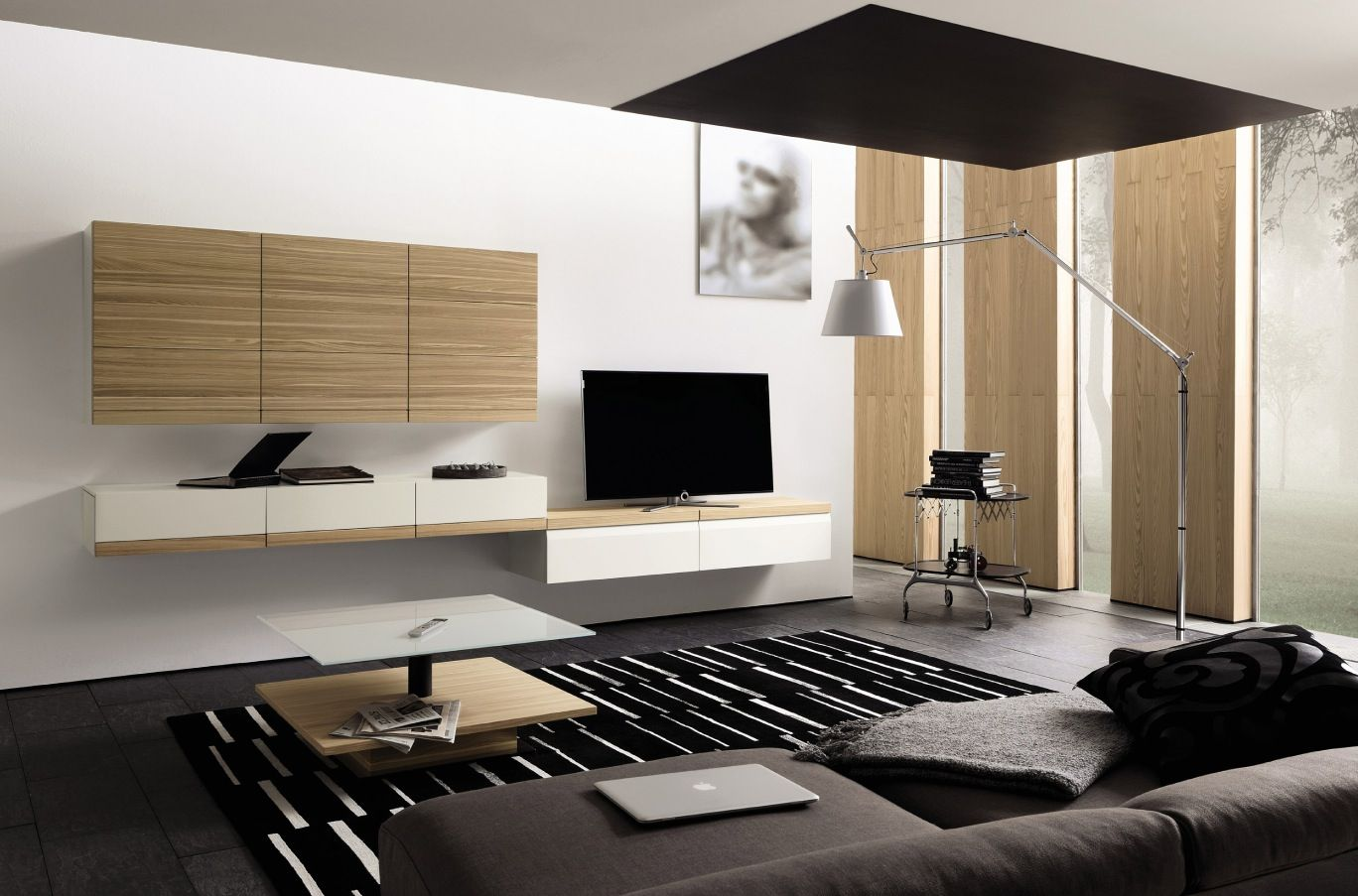 Interior Tv Cabinet Design Ideas For Living Room With Floor Lamp And Minimal Media Center