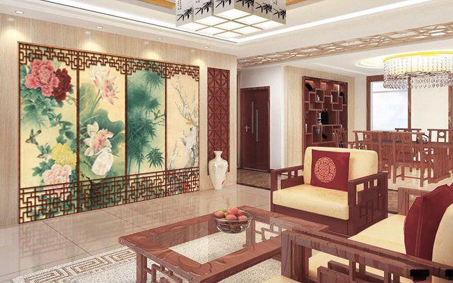 latest tapisserie asiatique paravent aux fleurs et aux oiseaux fond beige with paravent zen. Black Bedroom Furniture Sets. Home Design Ideas