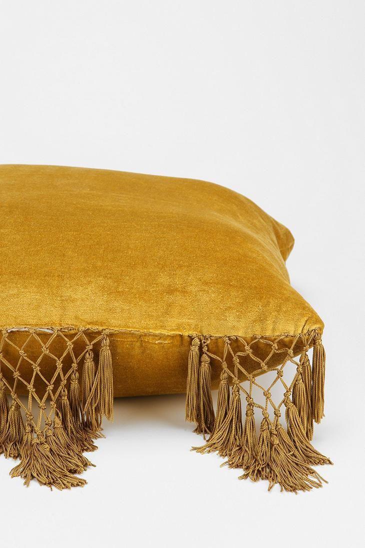 Magical Thinking Velvet Fringe Pillow #urbanoutfitters