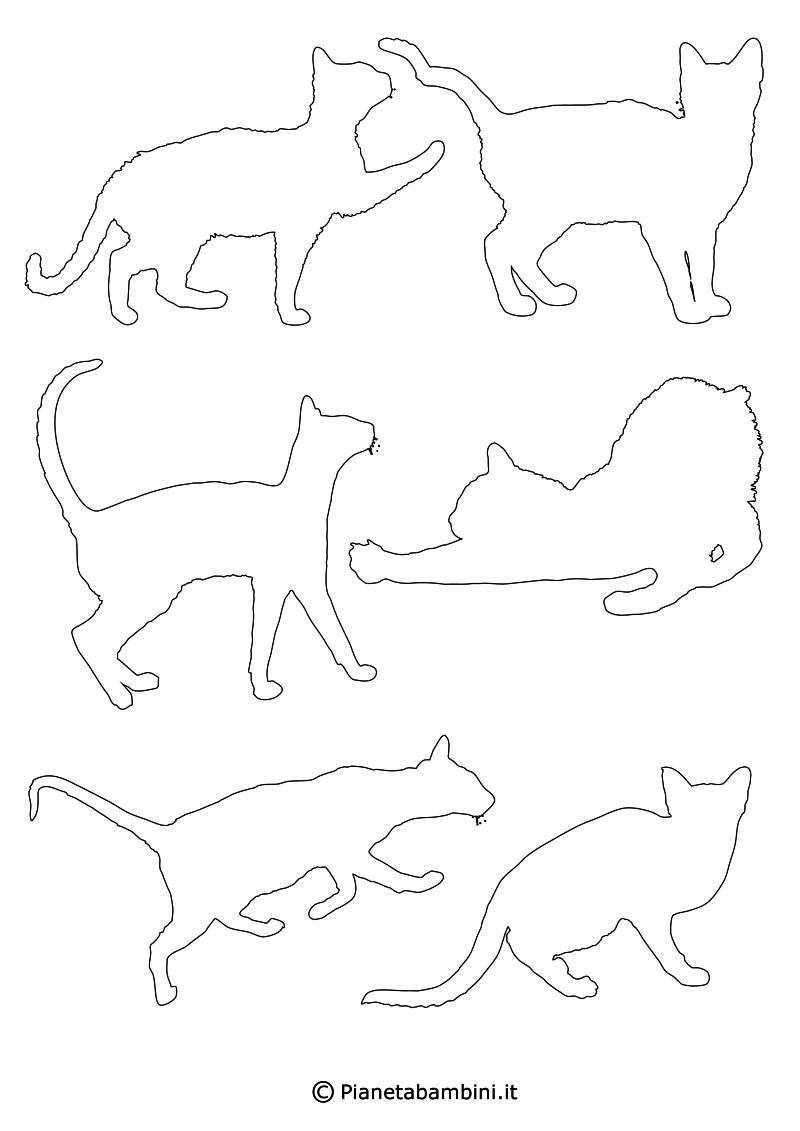 Sagome Di Gatti Da Stampare Colorare E Ritagliare Sagome