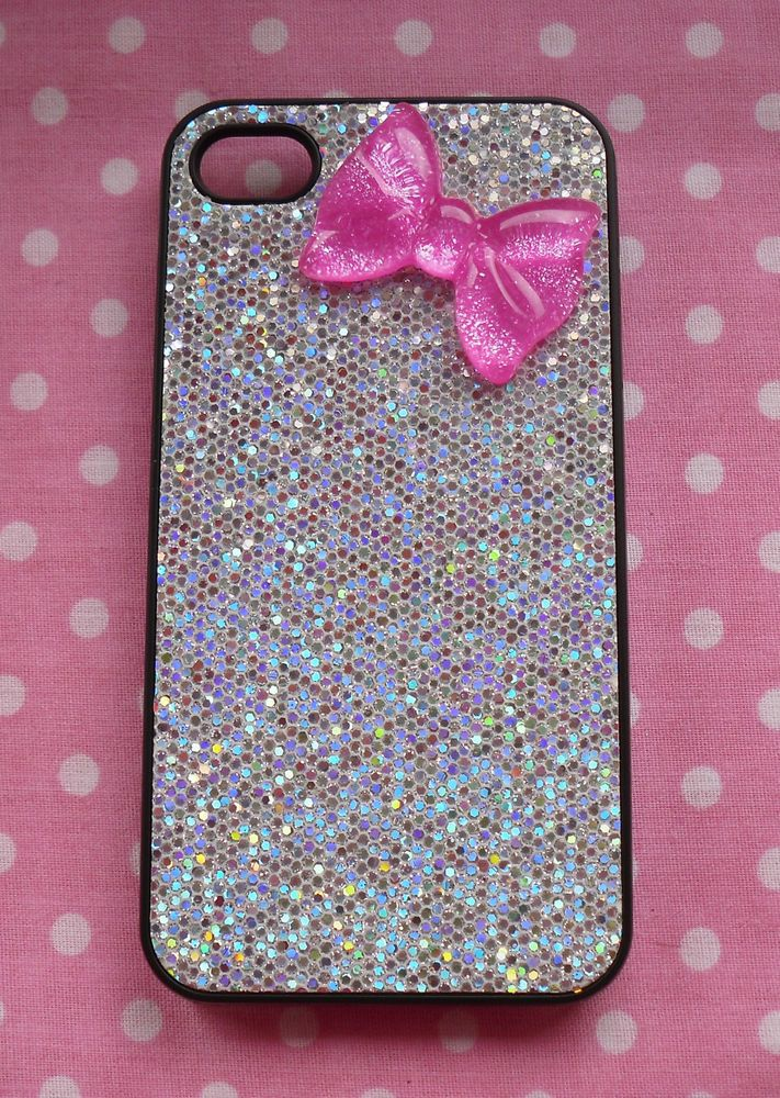 Sparkly Silver iPhone 4 / 4S Hard Back Case Cover With Glitter Pink Bow