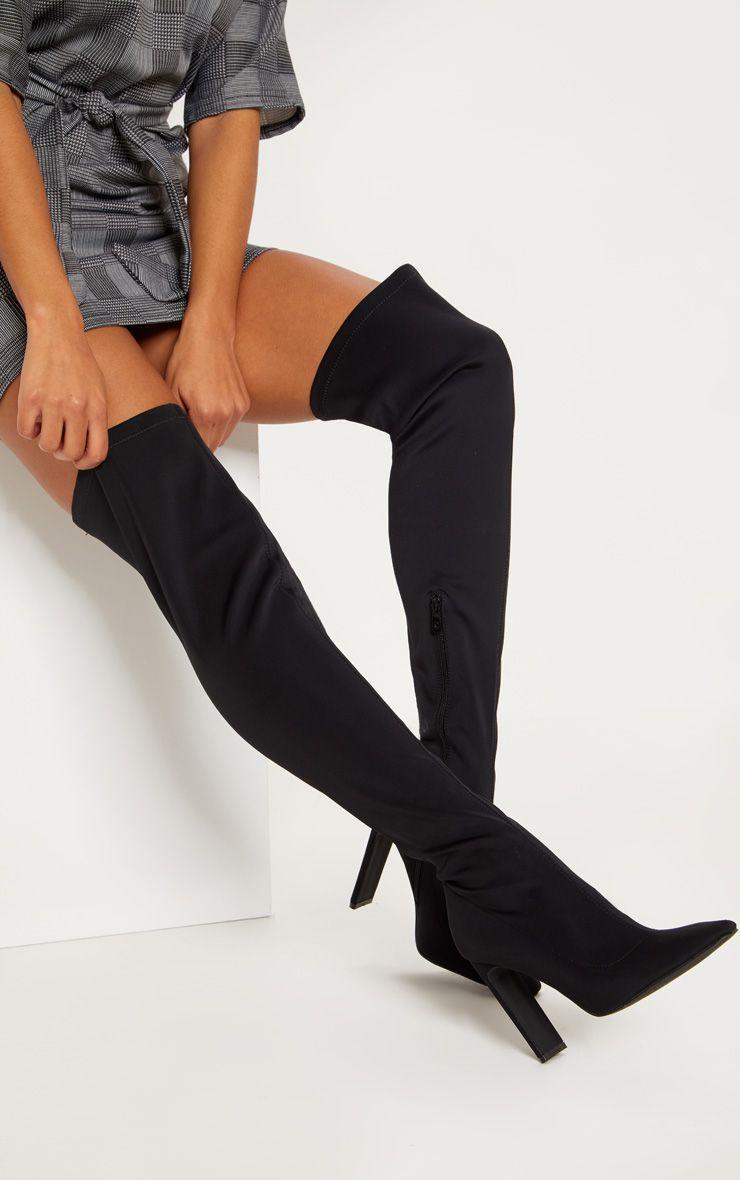 Black Over The Knee Flat Heel Sock Boot