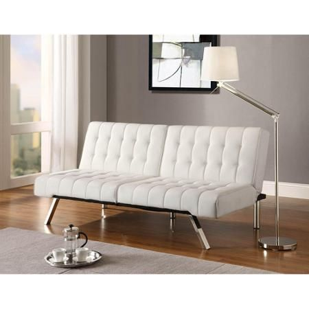 Dhp Emily Convertible Tufted Futon Sofa Vanilla Faux Leather