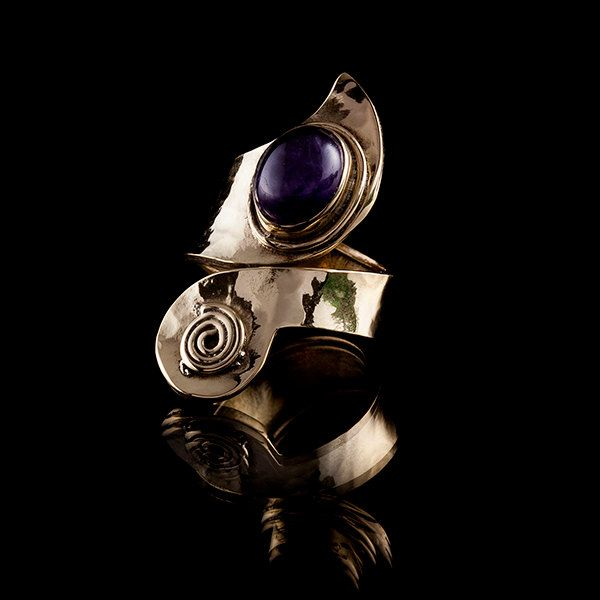 Tribal Swirl Brass Ring with Amethyst Stone, Tribal Ring, Gemstone Ring, Stone Ring, Tribalik Jewellery (Code 311) by TRIBALIK on Etsy