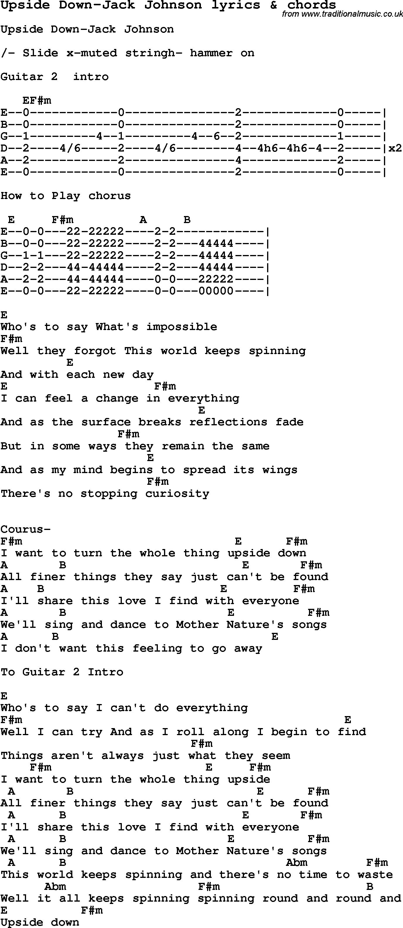 Love Song Lyrics For Upside Down Jack Johnson With Chords For