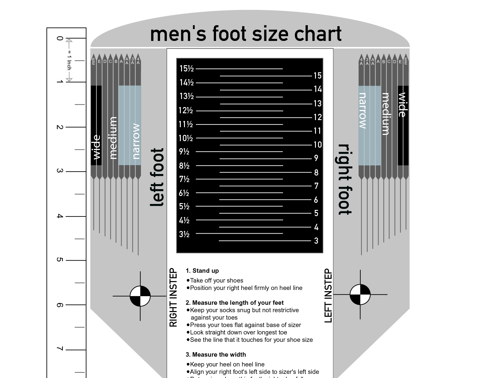 picture regarding Printable Foot Size Chart named Mens Shoe Sizing Chart for Your Reference Kiddo Shelter