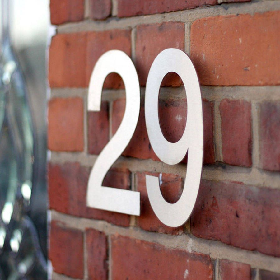 Large Modern Stainless Steel House Numbers Steel House - Contemporary house numbers