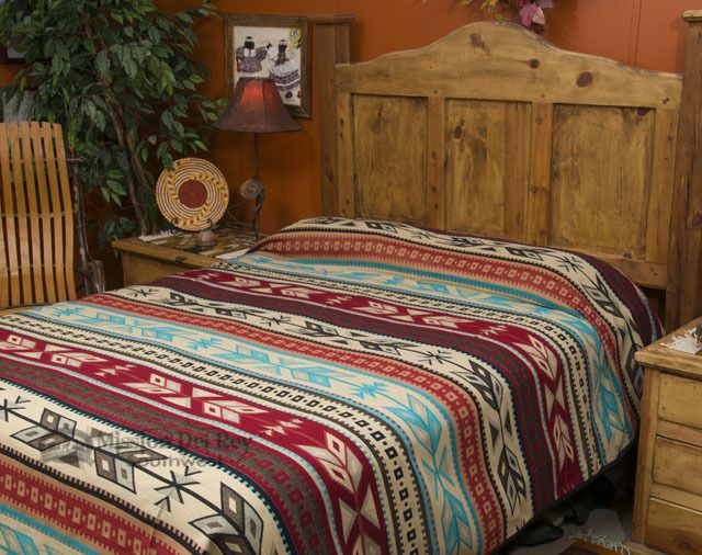 Plush Southwestern Bedspread Queen Size Santo Domingo Bright Southwestern Bedspread Bed Spreads Southwest Bedspreads