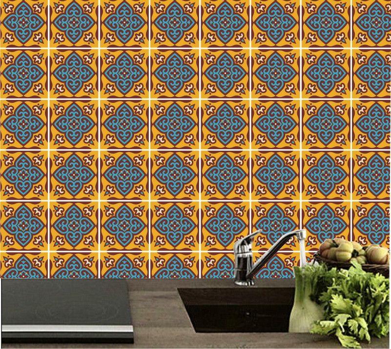 Folha inteira  Tamanho 2,06 x 1,10 m  Formado por 91 quadrados de 15 x 15 cm  Pode ser aplicado inteiro como papel de parede ou você pode separar e aplicar como quiser.    Dê mais cores e vida para seu ambiente,  Criativo, Prático, Elegante e Rápido!!!  Uso interno.    Confeccionado em Vinil auto...