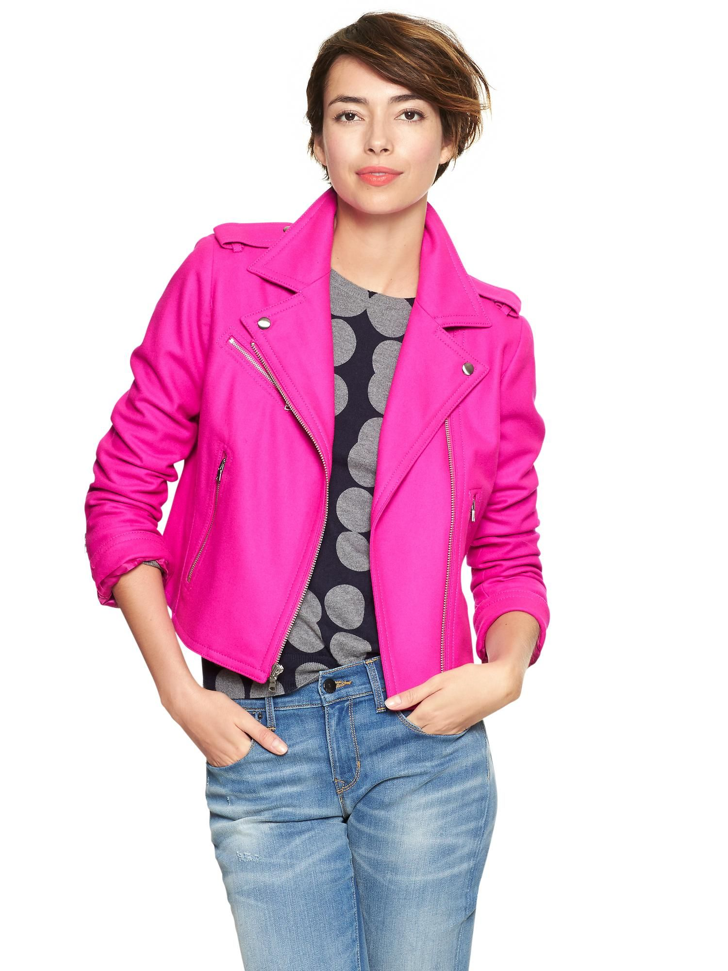 Pin by Elise Miko on Brrrr Pink moto jacket, Coats