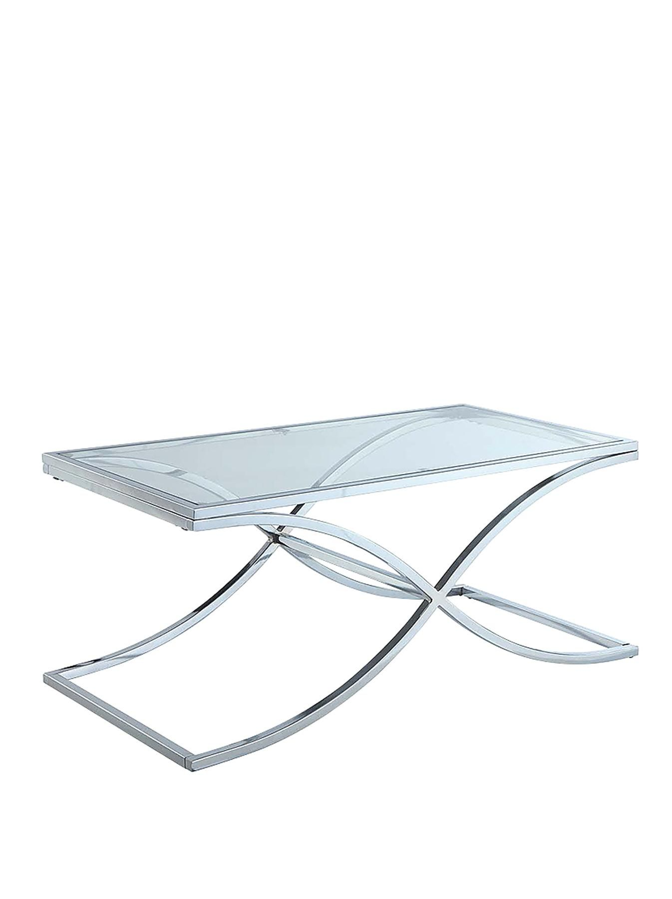 eames eiffel style glass chrome coffee table large