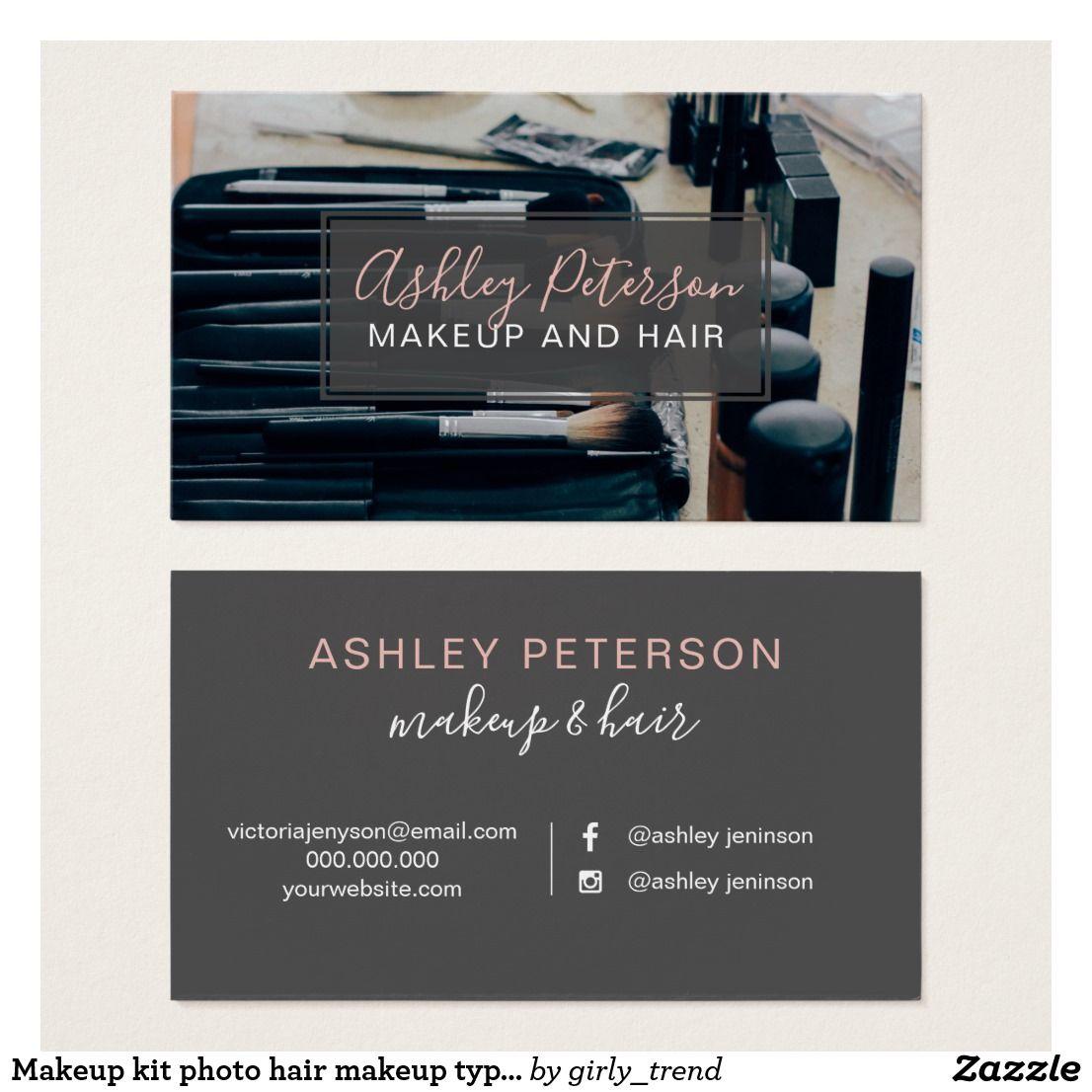 Makeup kit photo hair makeup typography business card   Business ...