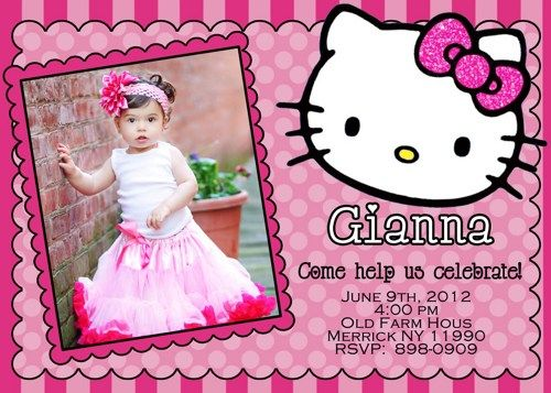 hello kitty photo birthday invitations