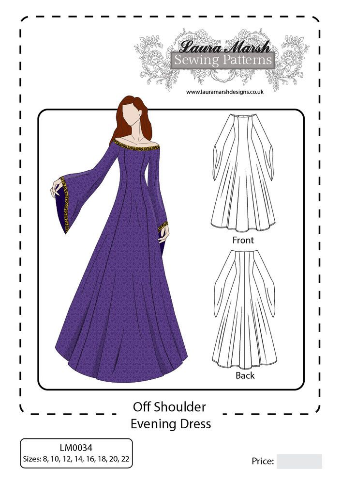 Off Shoulder Evening/Medieval Dress Sewing Pattern Sizes 8-22 NEW ...