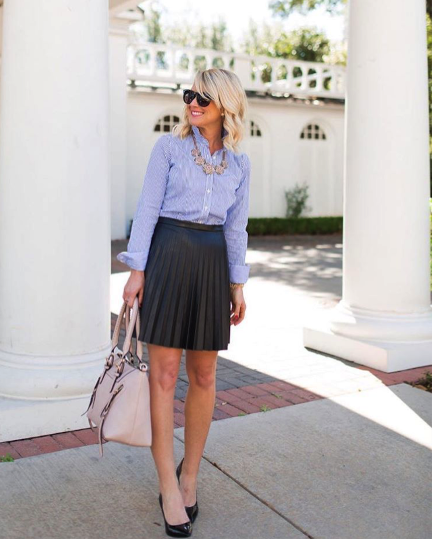 **** Try Stitch Fix today to receive on trend looks like this today!!! Obsessed with this entire outfit! Leather pleated skirt paired with basic long sleeve button up and statement necklace for a classic look! Love everything about this!! Stitch Fix Fall, Stitch Fix Spring 2016 2017. Stitch Fix Fall Spring fashion. #StitchFix #Affiliate #StitchFixInfluencer