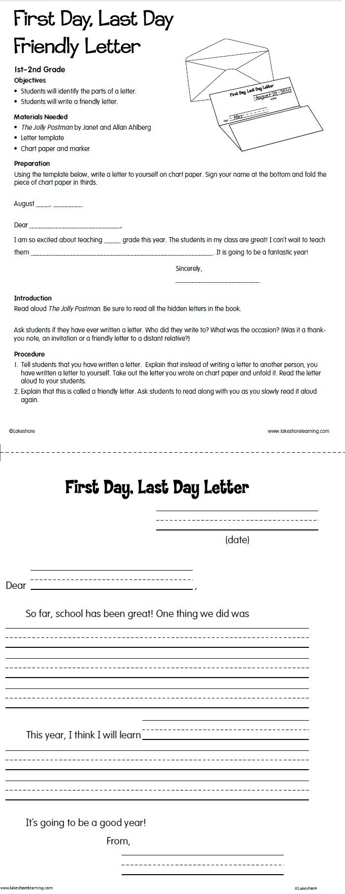 First day last day friendly letter lesson plan from lakeshore first day last day friendly letter lesson plan from lakeshore learning mitanshu Choice Image