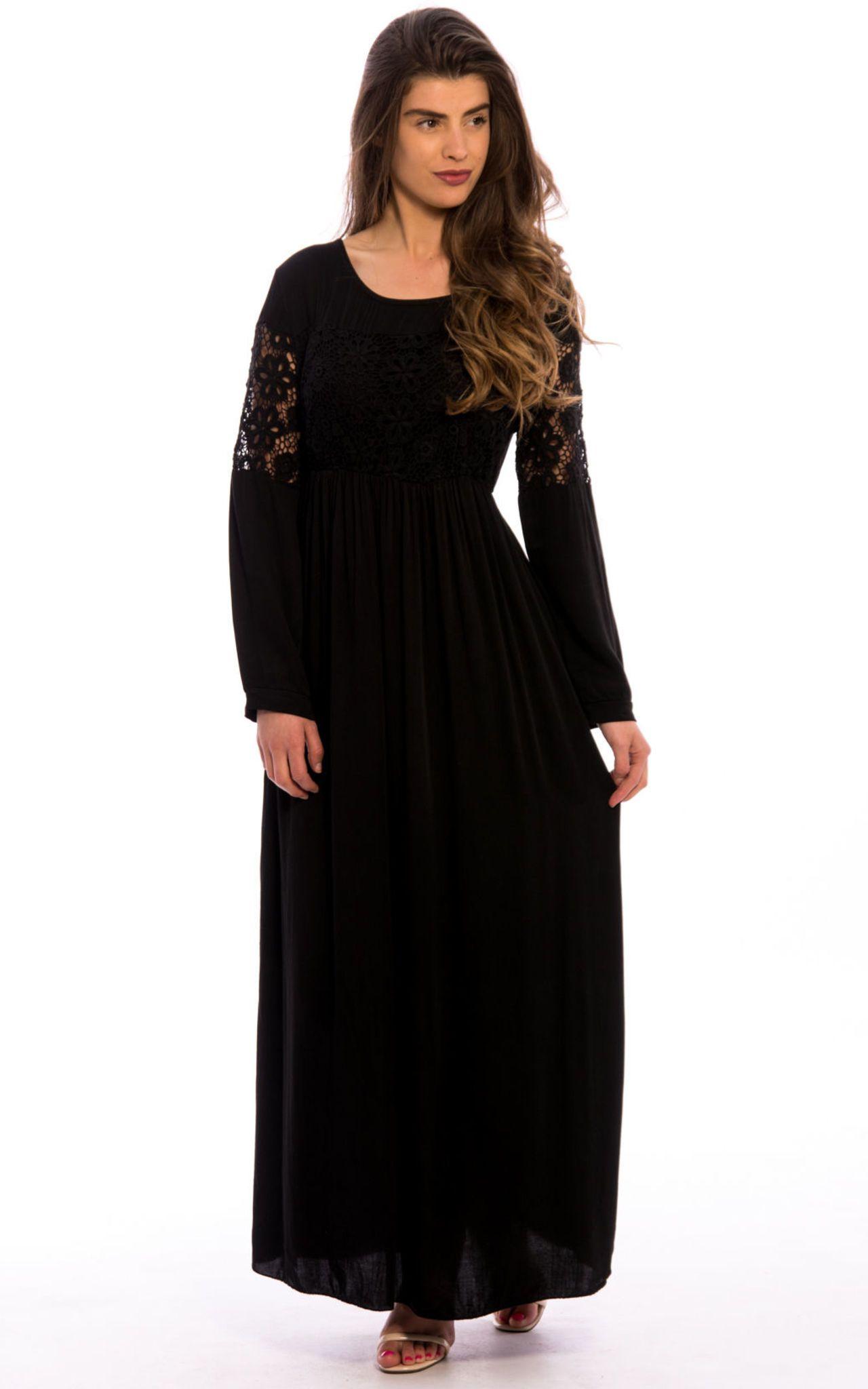 Crochet lace detail long sleeves maxi dress black by npire