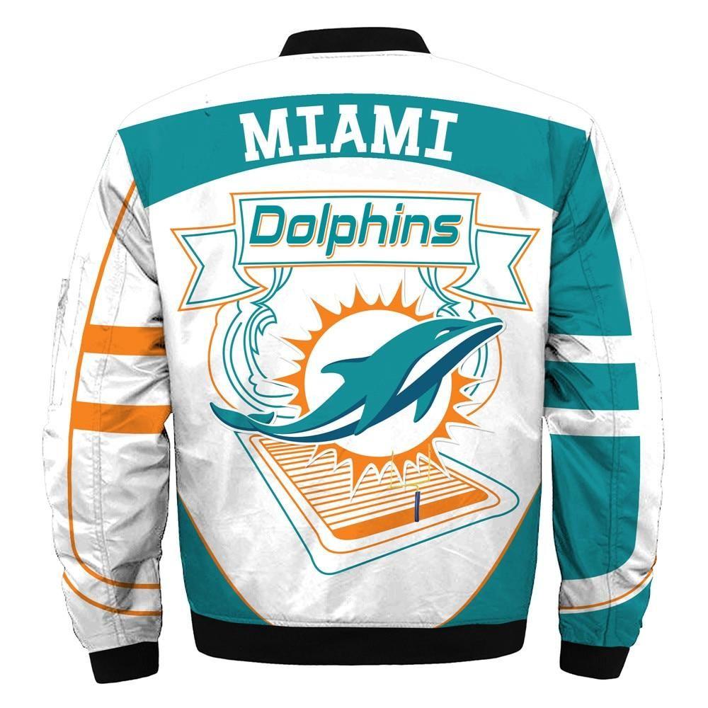 Newest Design 2019 NFL Bomber Jacket Custom Miami Dolphins
