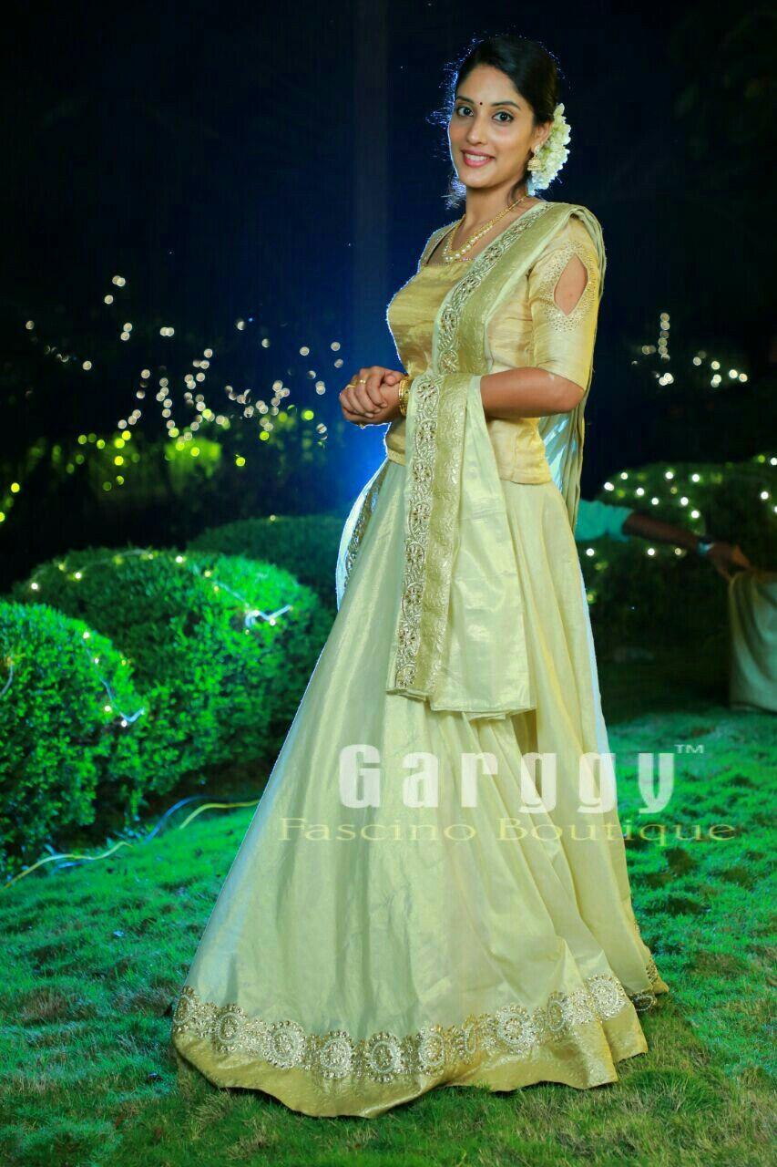 Kerala Bridal Lehenga Engagement Wear From Garggy Fascino Boutique
