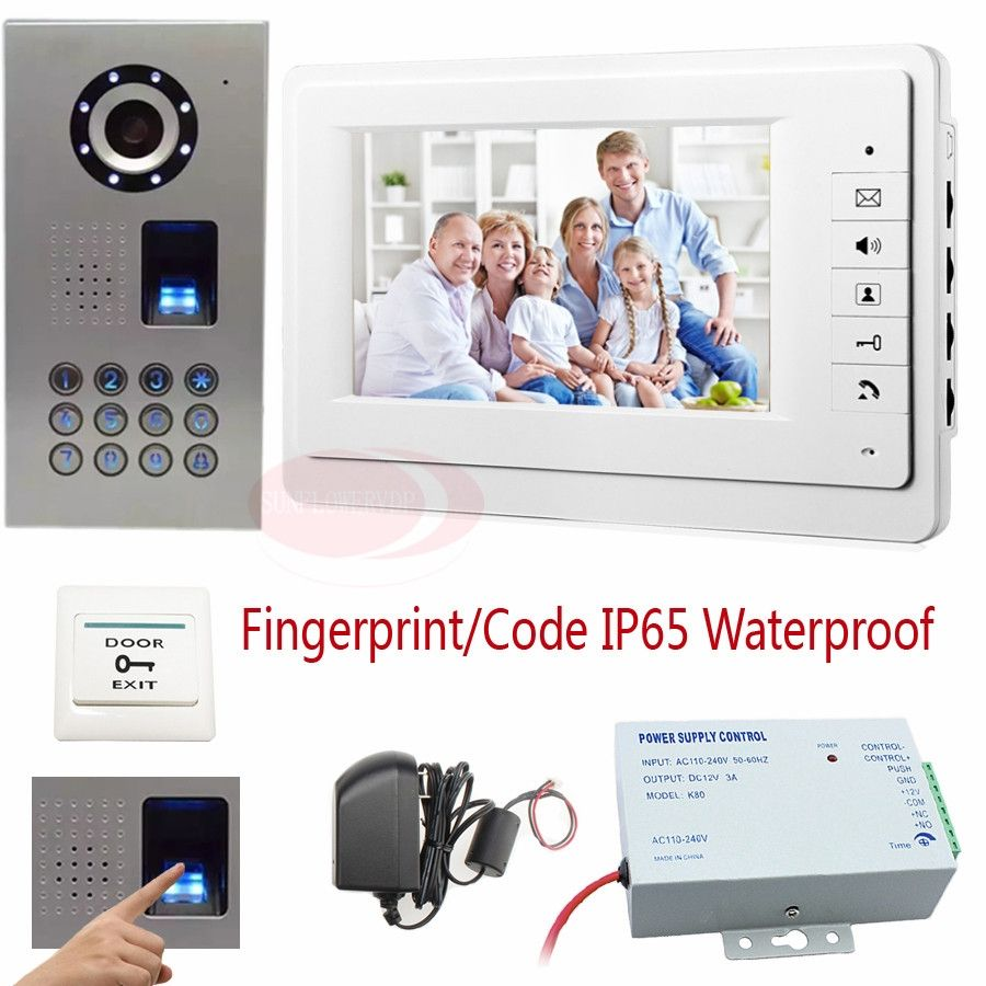 Video Intercom Fingerprint recognition/Password unlock 7\'\' Color ...