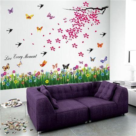 Adhesivo Mural Arbol En Flor Pajaros Y Mariposas De Walplus