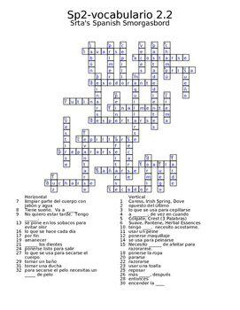 Spanish Avancemos 2 Vocab 2.2 crossword (With images