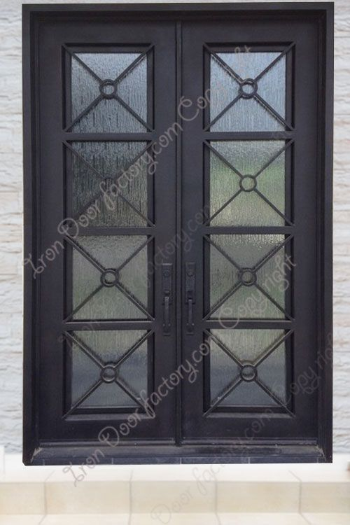 Main Features Air Tight Seal Around Door Frame And Glass Panel 2 Thick By 6 Wide Door Panel For Greate Iron Doors Hand Forged Iron Double Entry Doors