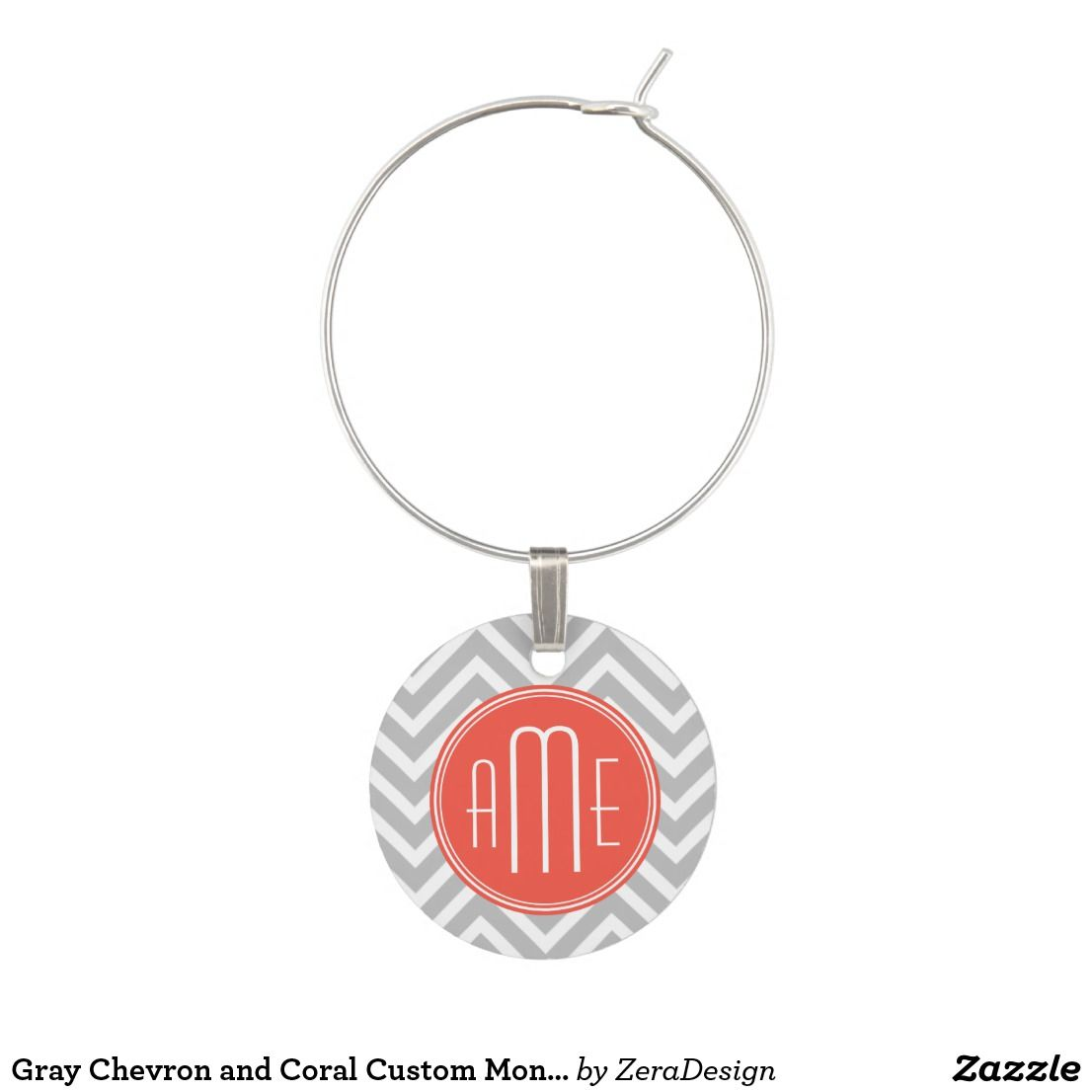 Gray Chevron and Coral Custom Monogram Wine Glass Charm