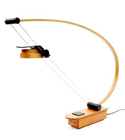 Height Adjustable Plywood Halogen Desk Lamp Lm Busur 44 H Designer