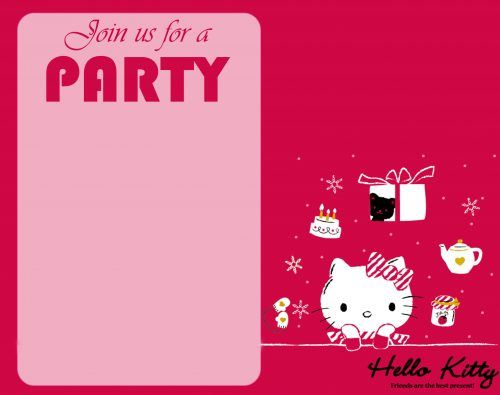 Free Hello Kitty Wallpaper For Party Invitation Card Design Hello