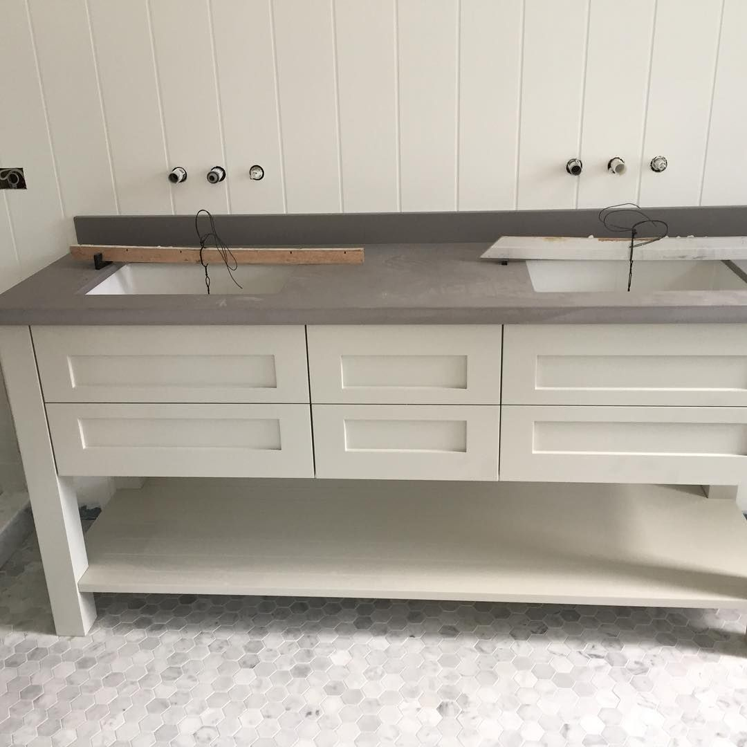 Stone benchtop in! Exciting to see the ensuite vision coming together. #modernfarmhouse #bathroom #shaker #shiplap