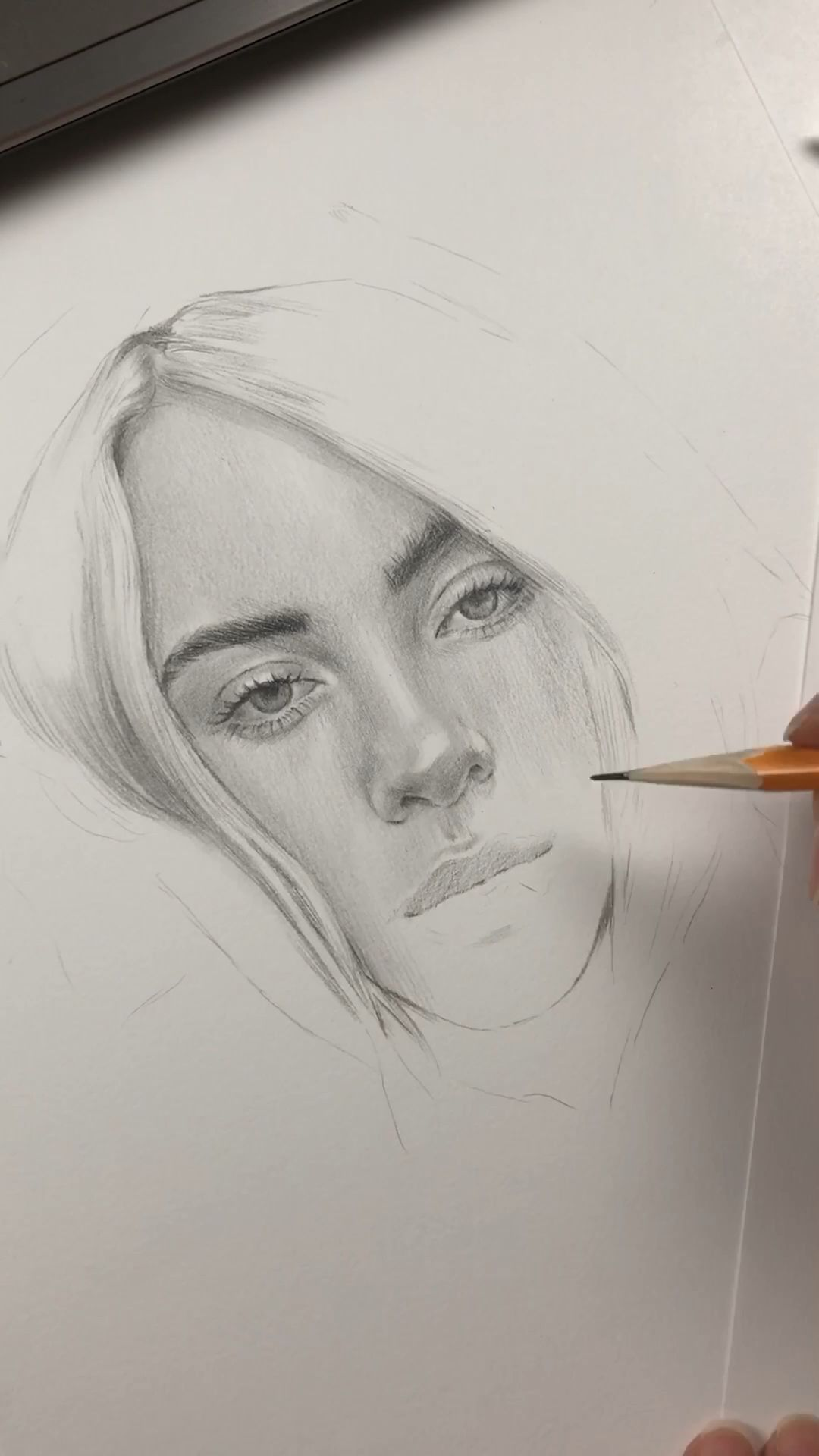 WIP time lapse video of drawing portrait of Billie Eilish by Nadia Coolrista#billie #coolrista #drawing #eilish #lapse #nadia #portrait #time #video #wip