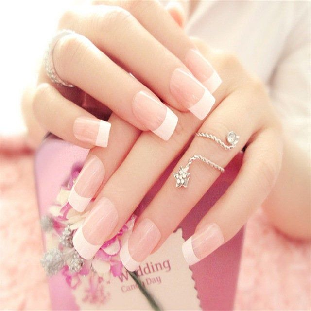 Pink White Long Artificial, Nails Charming, Acrylic Handmade, Square Full French Designed, Fake Nails with Glue Sticker, 24 PCS
