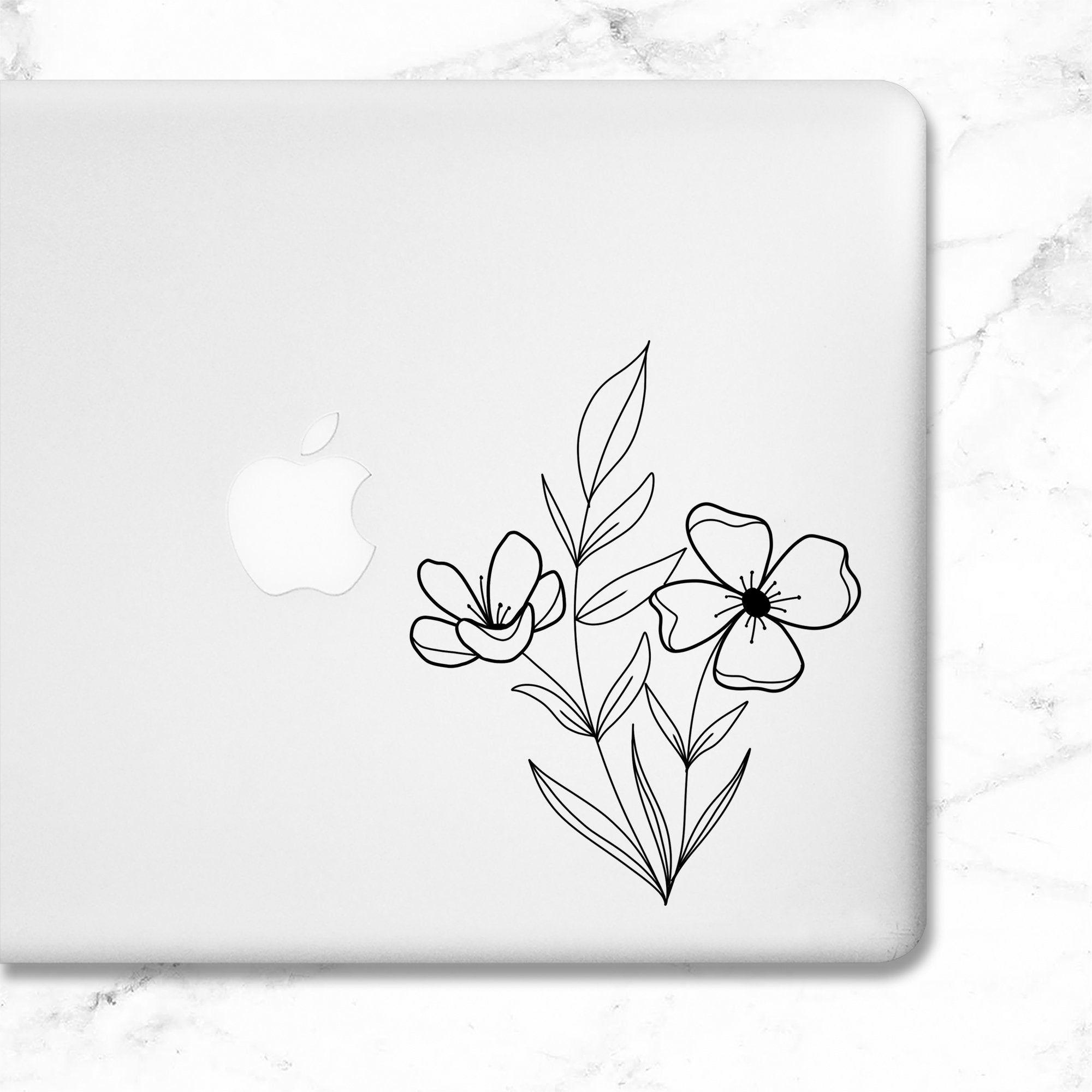 Vinyl Decal Flowers Vinyl Decal Flower Sticker Laptop Sticker Floral Decal Flower Vinyl Floral Decal Monogram Vinyl Decal Macbook Decal Stickers [ 2000 x 2000 Pixel ]