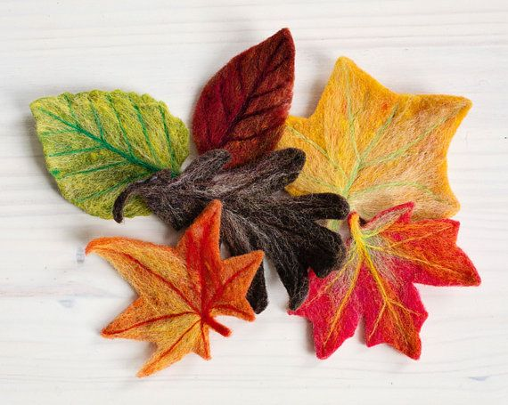 This is a great beginners needle felting project that produces six decorative fall leaves, based on real leaf types: dogwood, tulip poplar, maple, oak,